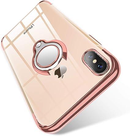 BOMIZI Cover per iPhone X, Cover iPhone XS, Custodia Trasparente Silicone TPU con 360° Anello Girevole per Supporto Magnetico Auto, Antiurto ...