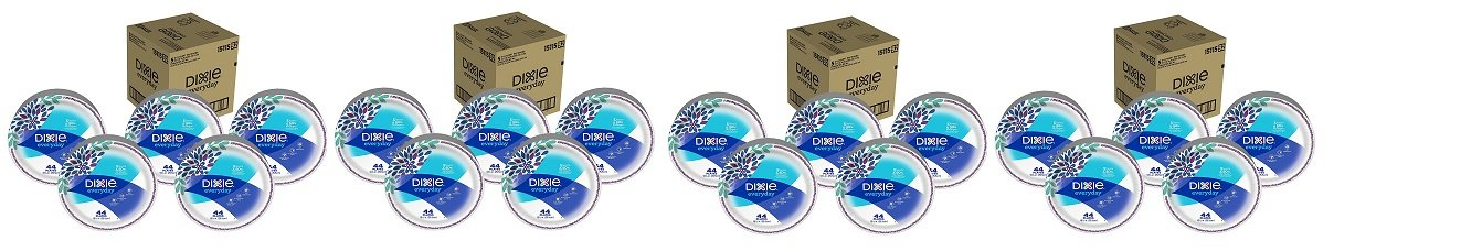 Dixie Everyday Disposable Paper Plates, 10 1/16 Inch Plates, 220 Count (5 Packs of 44 Plates); Designs May Vary (.4 BOX)