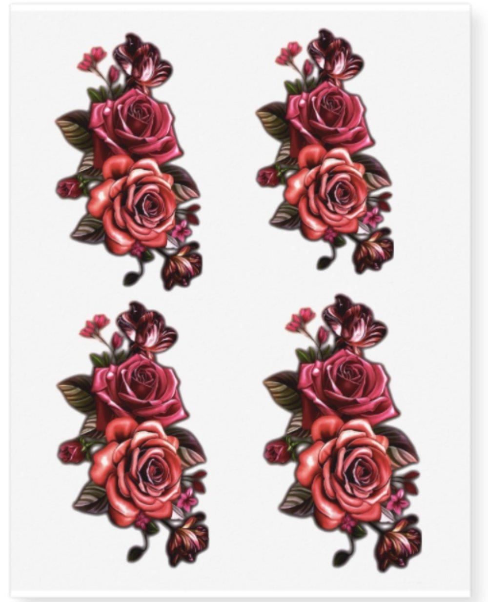 Amazon.com: 16 individual Flower Temporary Tattoos - Twin Rose (Set ...