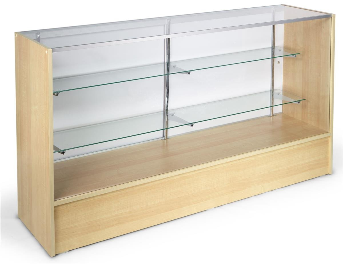 Displays2go Maple Store Counter with Shelves, Tempered Glass, Aluminum, Melamine - Honey (MRC6HMKD)
