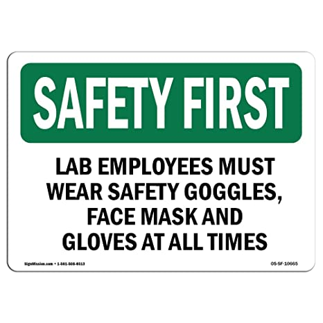 Amazon.com: Osha Safety First Sign – Gafas de seguridad para ...