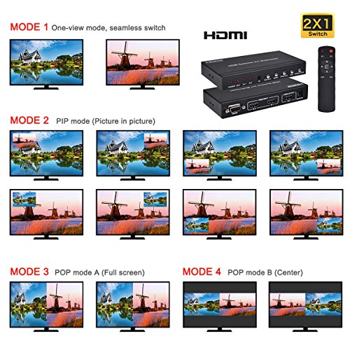 HDMI 2X1 MultiViewer, 1080P 2 in 1 Out HDMI Switch Screen Splitter with PIP  Mode, Support Cascading with IR Remote RS232 for Education, IT Business,