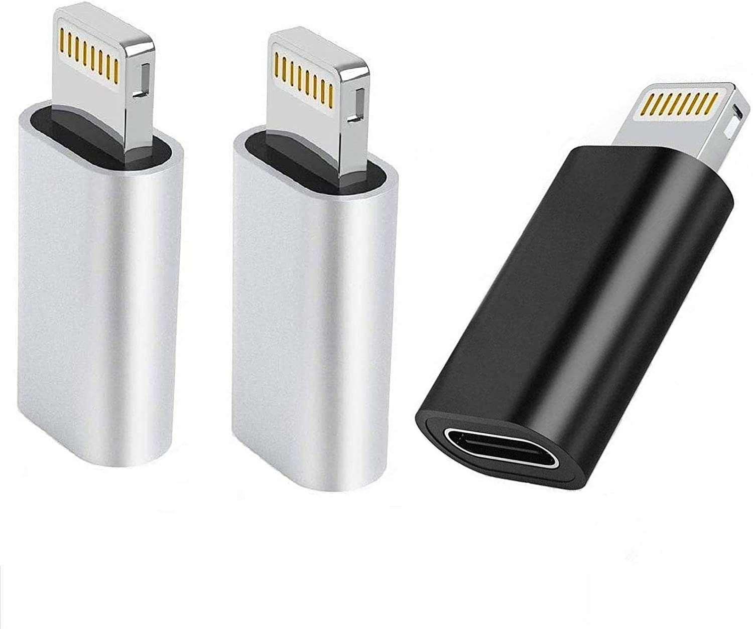 [Apple MFi Certified] USB C to Lightning Adapter for iPhone, 3 Pack Type C Female to Lightning Male Adapter Charger Converter Compatible with iPhone 12/11/XR/XS/X/8 7, Support Charging & Data Sync
