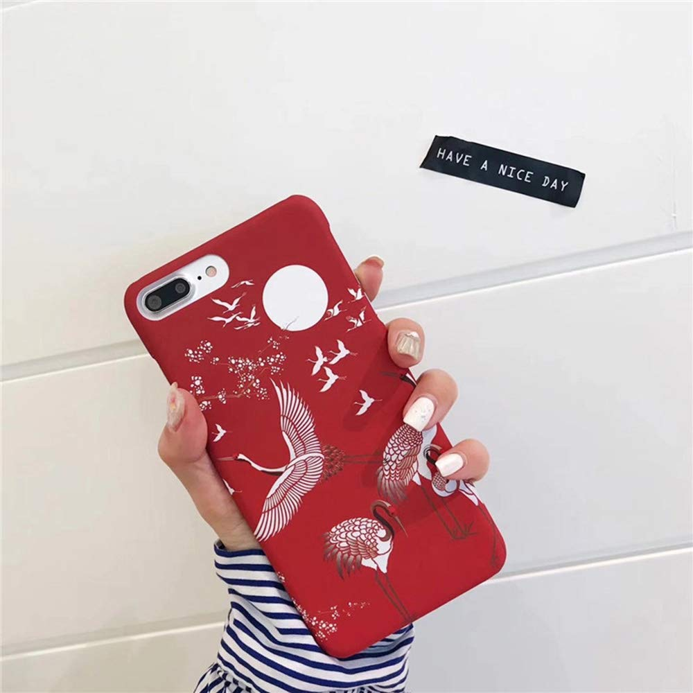 b049d0b0eb Amazon.com: Japanese Cherry Blossom Crane Phone Cases for iPhone 7 ...