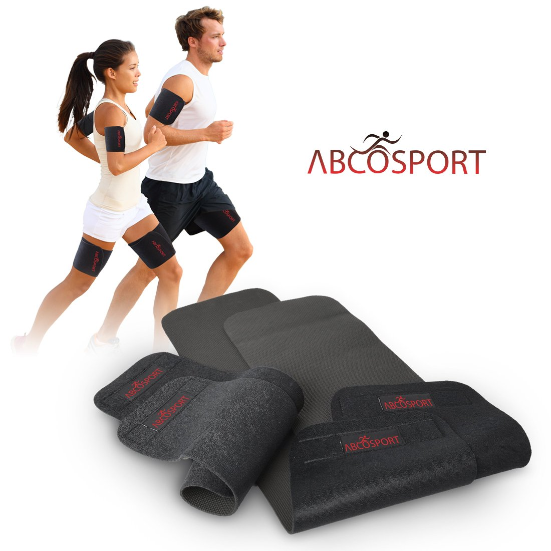 Body Wraps for Arms and Thighs - To Lose Fat & Reduce Cellulite - Best Adjustable Slimmers with Anti-Slip Grid Technology - Use Home or Street - Repels Sweat - 4 Piece Kit (4 Piece Set - Small) by Abco Tech