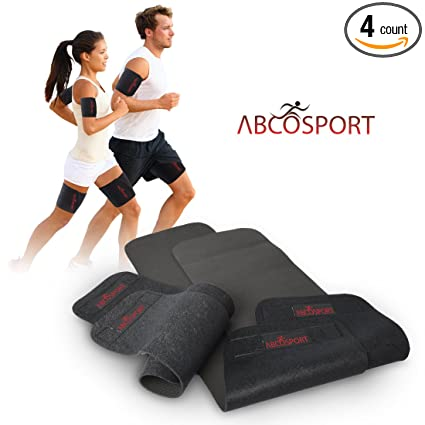 ac4c3833636 Abco Tech Body Wraps for Arms and Thighs - to Lose Fat   Reduce Cellulite -  Best Adjustable Slimmers with Anti-Slip Grid Technology - Use Home or  Street ...
