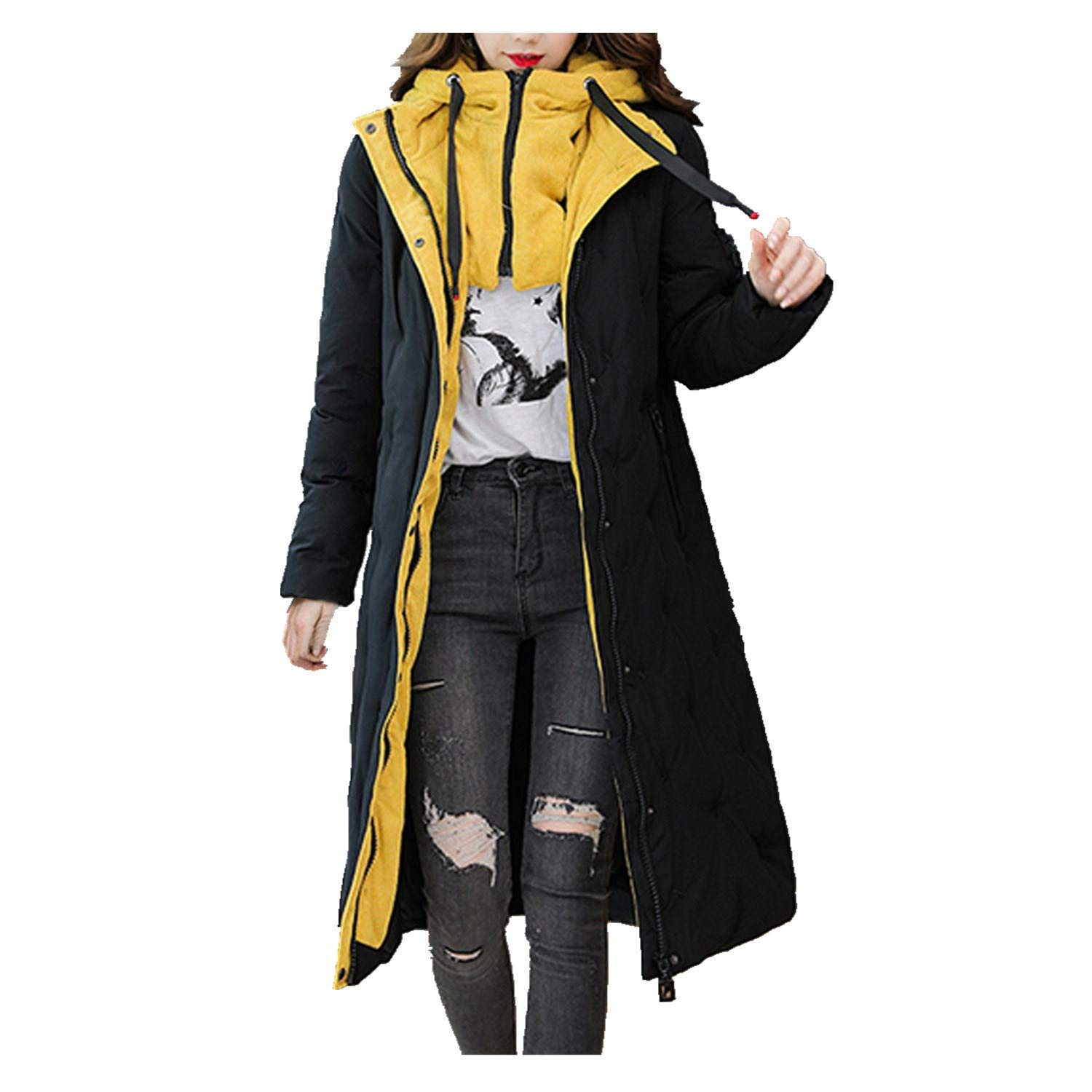 Spring Color  Womens Winter Long Sleeve Coat Hooded Thicken Zipper Button Warm Jacket Pocket Long Overcoat Outwear Black by 🍒 Spring Color 🍒