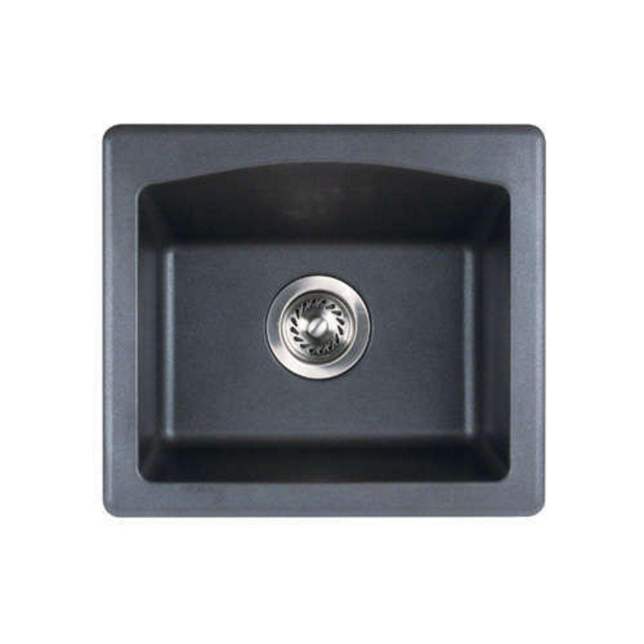 Swanstone QZ01816BS.077 Granite Dual Mount Single-Bowl Kitchen Sink, 16'' L x 18'' H x 7.5'' H, Nero