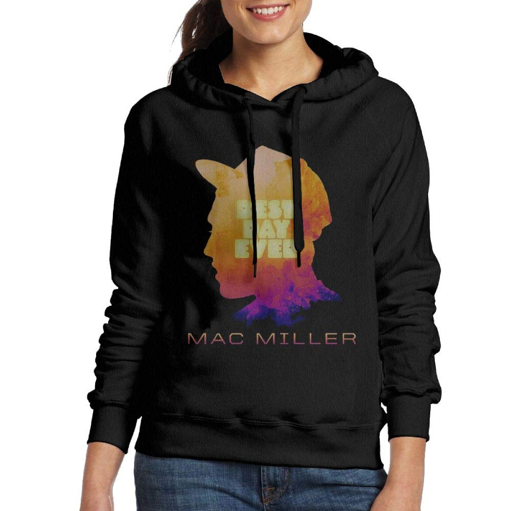 Pautabely Womens Mac Miller Adjustable Long Sleeve Hoodie Black