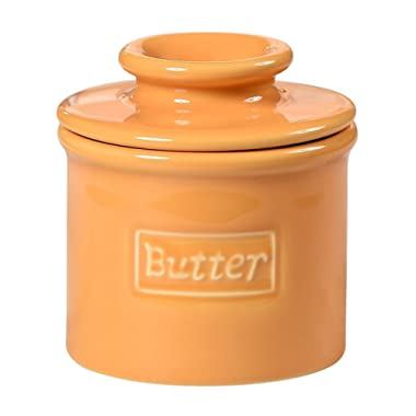 Butter Bell - The Original Butter Bell Crock by L. Tremain, French Ceramic Butter Dish, Café Retro Collection, Golden Yellow
