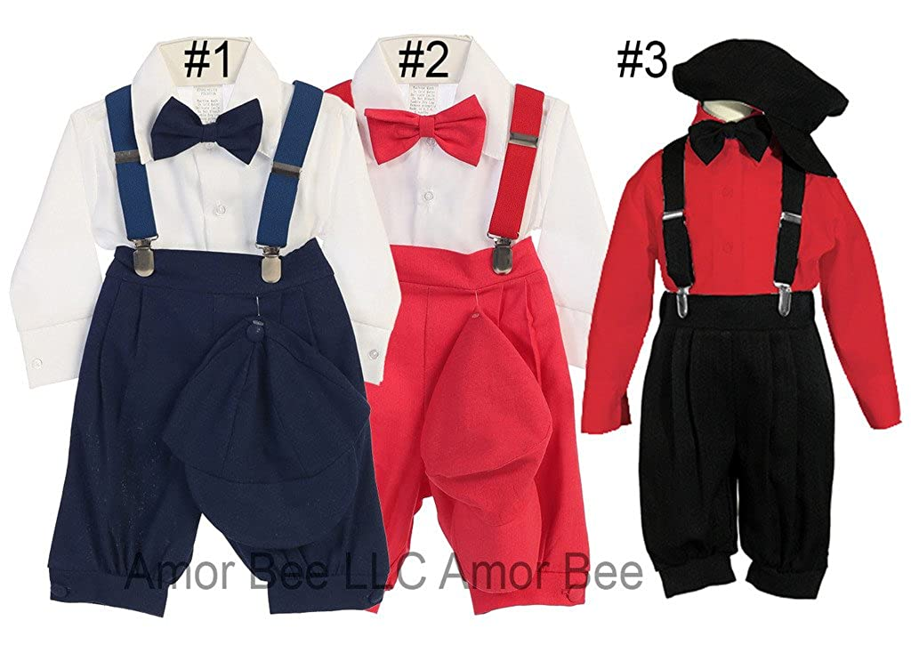 Vintage Suspenders Knicker Suit Set 5pcs ABKNIC06868-S Christmas Boys Knickerbocker Suit Set