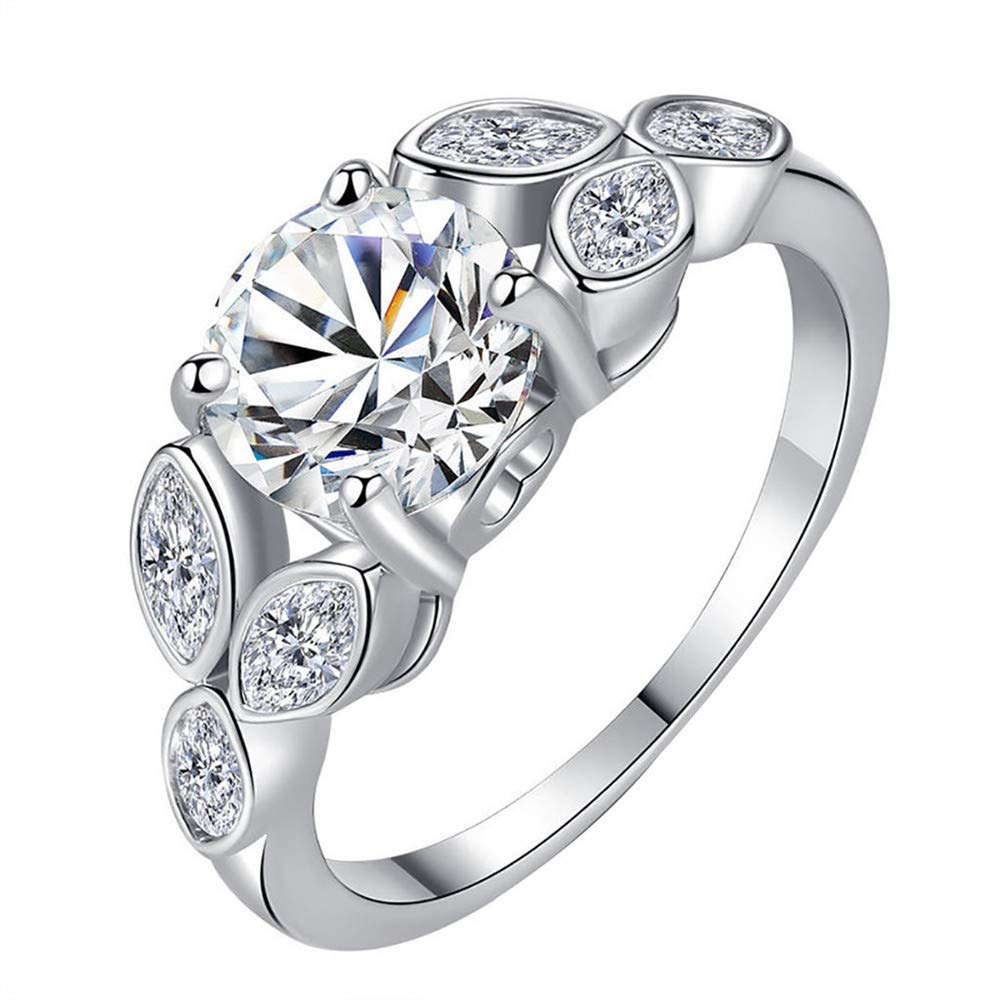 BOOBODA Women's Simple Fashion Tree Buds Young Leaves Zircon Ring Jewelry Silver Ring Wedding Ring(Silver,6#)