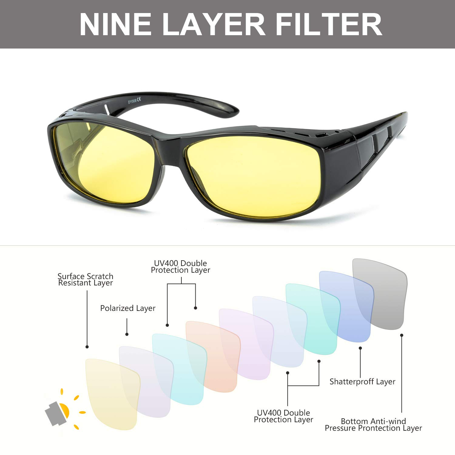 3b4437643498 Amazon.com: IGnaef Wrap Around Night Driving HD Polarized Glasses, Fit Over  Rectangular Glasses for Night/Foggy/Rainy/Cloudy,with Clip Holder: Clothing