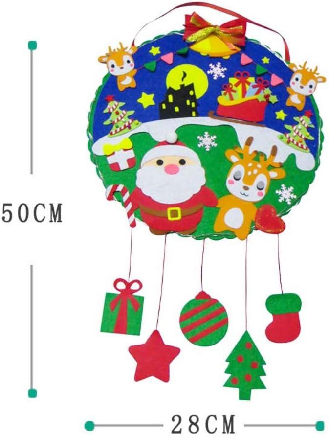 Felt Christmas Decorations Kids Felt Craft Kits Christmas Sewing Sets Starter Kits Non-Woven Handmade DIY Hanging Garland Wreath Merry Christmas Tree Wreath for Front Door