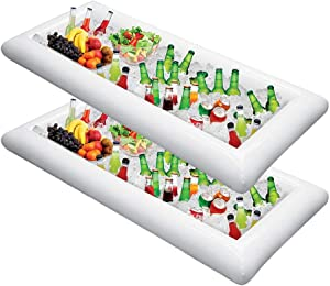 Inflatable Ice Serving Bar with Hand Pump 2 Pack Salad Ice Tray Food Drink Containers - BBQ Picnic Pool Party Supplies Buffet Luau Cooler Drain Plug