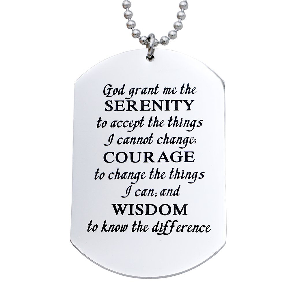 Melix Home Stainless Steel Serenity Prayer Strength and Encouragement Necklace Inspirational Gift