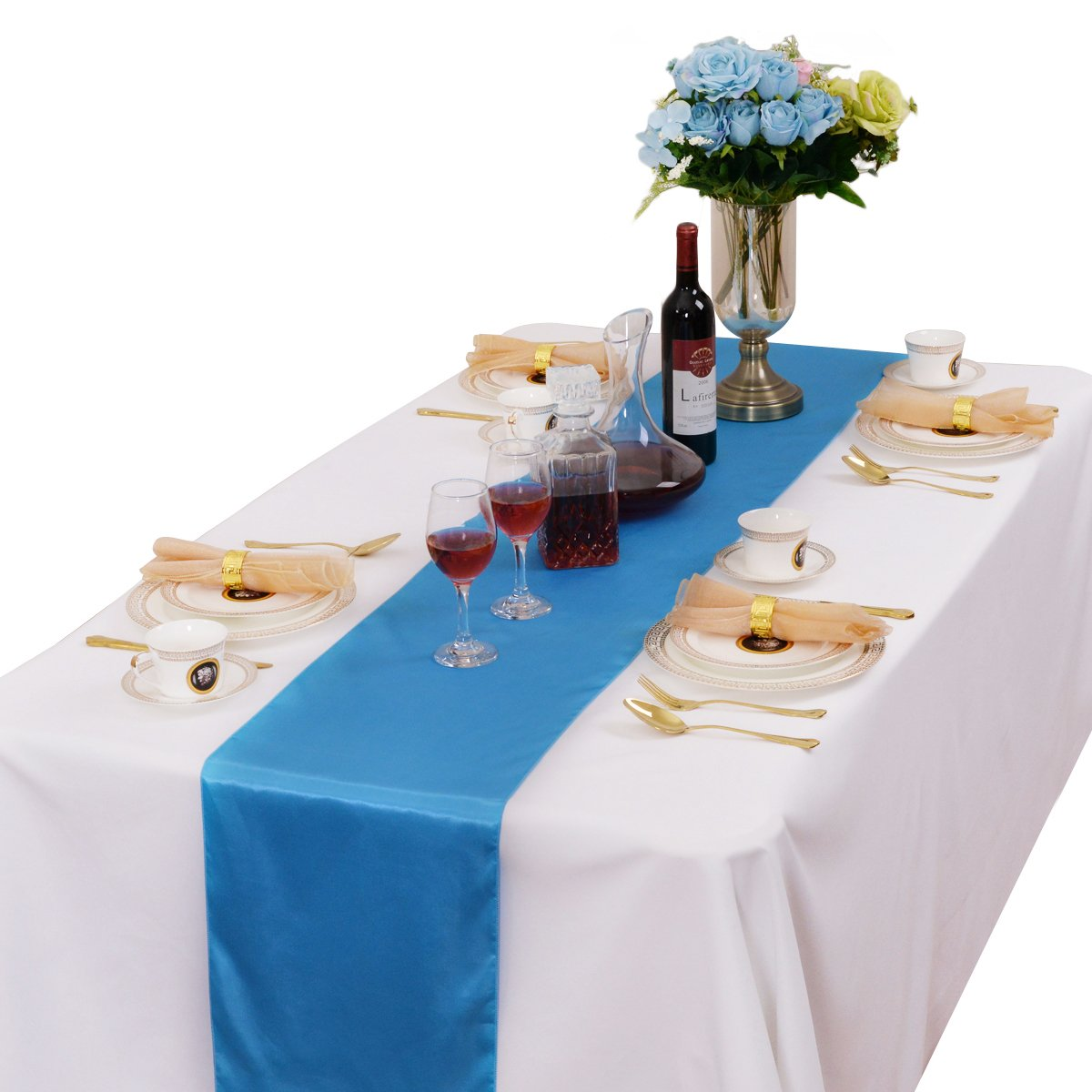 LOVWY Pack Of 20 Satin Table Runner 12 x 108 Inch For Wedding Party Engagement Event Birthday Graduation Banquet Decoration (Colors Optional) (Baby Blue)
