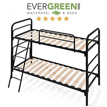Cama camarote con 2 plazas con listones de madera y estructura de hierro con plazas individuales 80x190 cm: Amazon.es: Hogar