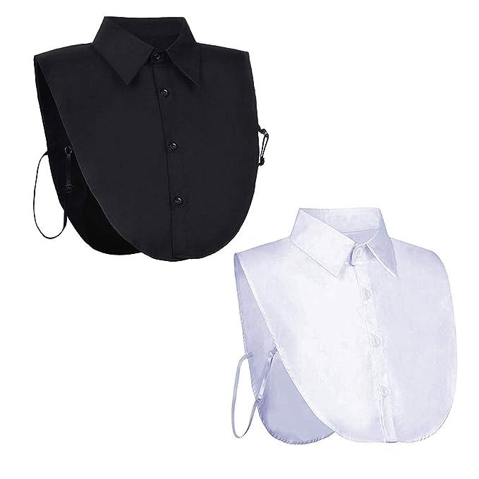 KingSaid 2 STK Blusenkragen Bluseneinsatz Kragen Damen Weiß und Schwarz mit Knopfleiste