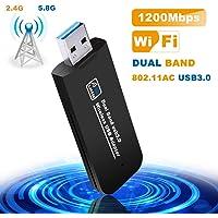 Tokenhigh USB WiFi Adaptateur, Clé WiFi Dongle AC Double Bande, 1200Mbps USB3.0 Mini Wireless Adaptateur Dongle WiFi 2.4 G/5.8 G Compatible avec Windows XP/7/8/8.1/10/Vista/Linux/Mac OS