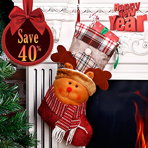 Reindeer Stocking (Christmas Stocking 3D Reindeer Moose Holiday Week Christmas Day Gift Plush Classic Traditional Plaid Adorable Cute Holiday Decoration Ornament Decorate Your Home for Party Office Xmas Tree 18 inch)