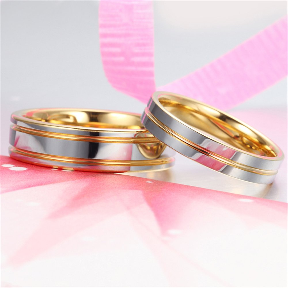 Mens Womens Couples Tungsten Line Grooved Wedding Engagement 18K ...