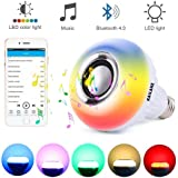LED Wireless Light Bulb Speaker - RGB Smart Music Bulb 2018 New design Instagram 5000+Likes with Stereo Audio Smart Speaker Wireless 7W E27 LED RGB Changing Lamp+24 Keys Remote Control
