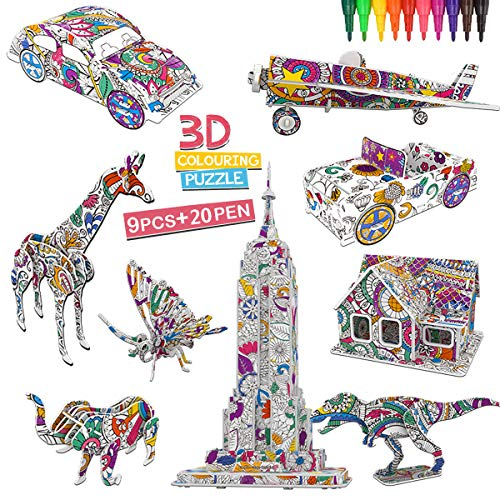 OundarM 3D Coloring Puzzle Set Paper Arts and Crafts for Adults Kids Ages 6+ Childrens Craft Kits 9 Style Model with 20…