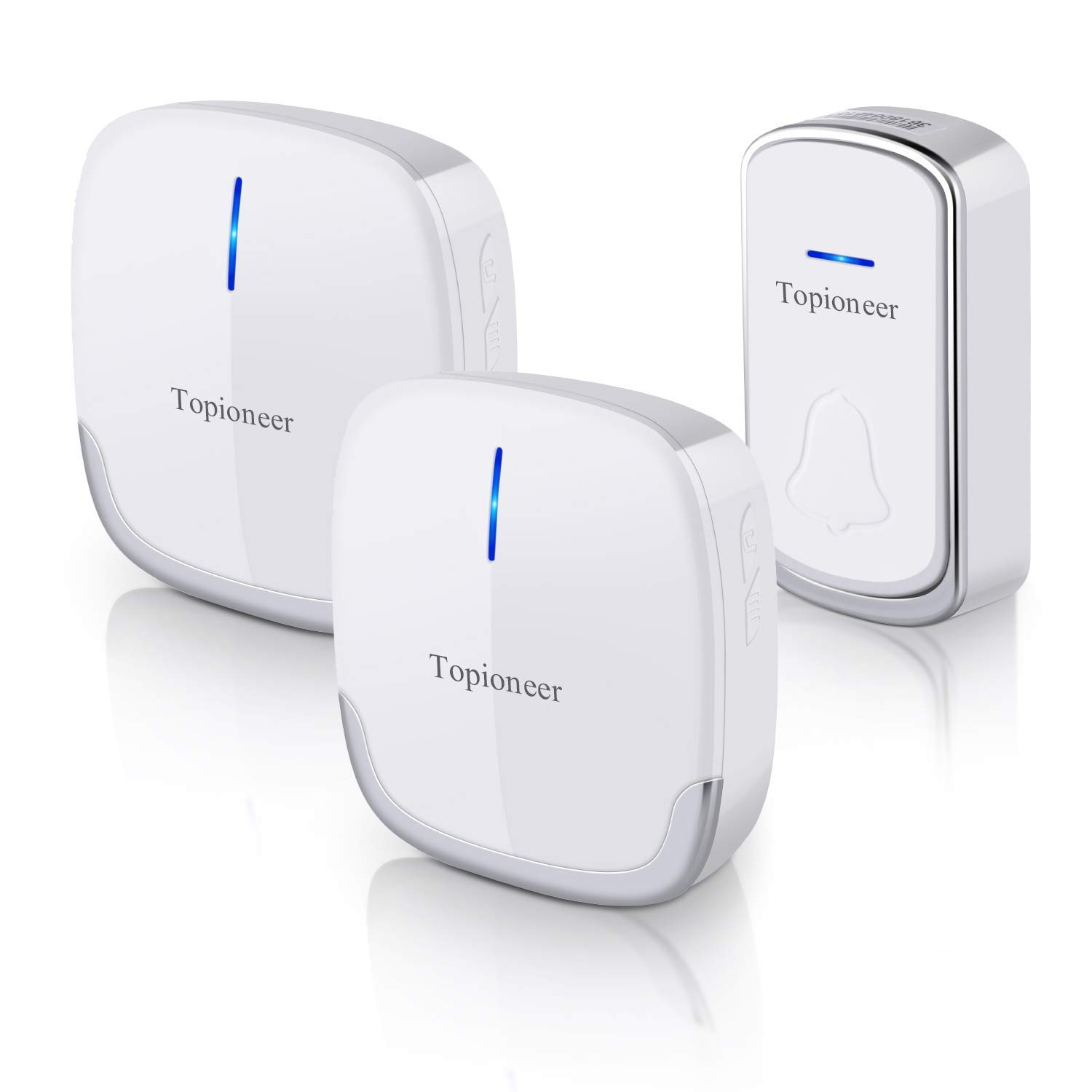 Wireless Doorbell, Topioneer Waterproof Door Chime Kit Operating at 1000 FT with 2 plug-in Receivers and 1 Remote Buttons, 36 Chimes, 4 Levels Volume for Choice(White)