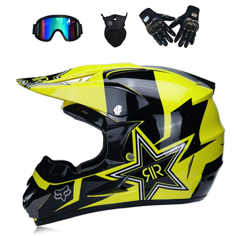 NBZH Doble Sport Motocross Casco/Adulto MX Todoterreno Moto/Am Mountain Bike Casco Completo Cara (Guantes, Gafas, Má scara, Juego De 4) Máscara