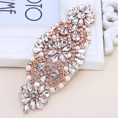 (XINFANGXIU Rose Gold Small Rhinestone Garter Applique Sew Iron on Crystal Beaded Patch for Bridal Wedding Dress Sash Belt Clothes Embellishments)