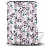 European Color Printing Shower Curtain Polyester Metal Copper Buckle Waterproof Bathroom Toilet Curtains