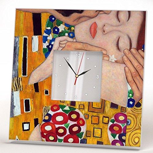 El Beso Klimt Reloj Pared Enmarcado Espejo Decoración Estampada Simbolismo Arte Hogar Diseño Regalo