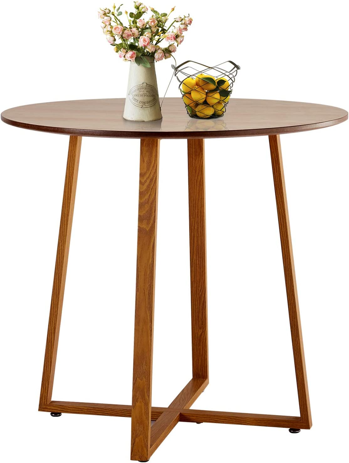 VECELO Kitchen Dining Round Solid Wood Coffee Tables Office Conference Pedestal Desk with Natural Wooden Rectangle Legs, Log