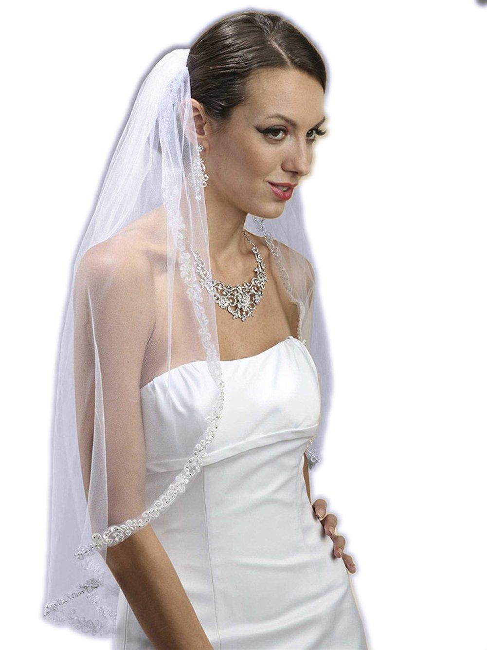 Mariell Women's Rhinestone Edge Mantilla Wedding Veil with Floral Applique - White