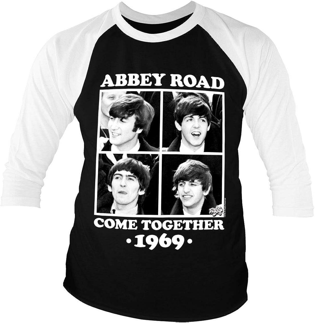 Licenciado Oficialmente Abbey Road - Come Together Baseball Camisa de Manga 3/4 para Hombre (Negro-Blanco)