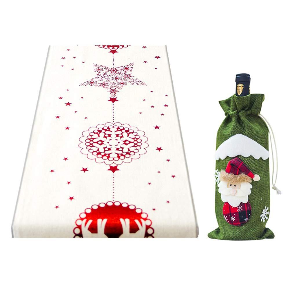 GEMSeven Titular De La Tapa De La Botella De Vino De Papá Noel + Mantel De Navidad Elk Table Runner Cover Decoración De Navidad: Amazon.es: Hogar