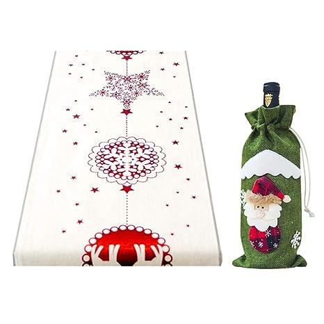 GEMSeven Titular De La Tapa De La Botella De Vino De Papá Noel + Mantel De