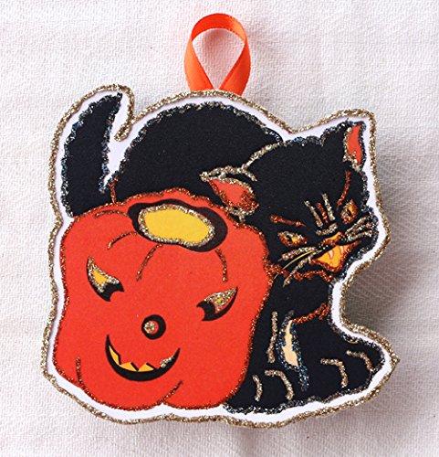 Black Cat & Pumpkin A Vintage Halloween Card Image~Glittered Wooden Ornament~ -