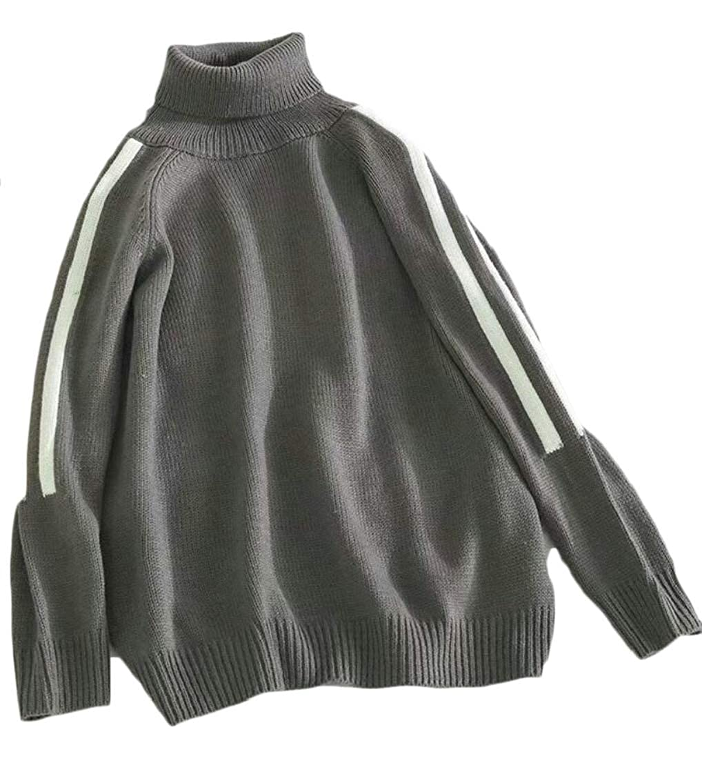 Generic Mens Stylish Turtleneck Knitwear Knitted Slim Fit Stripe Pullover Sweaters