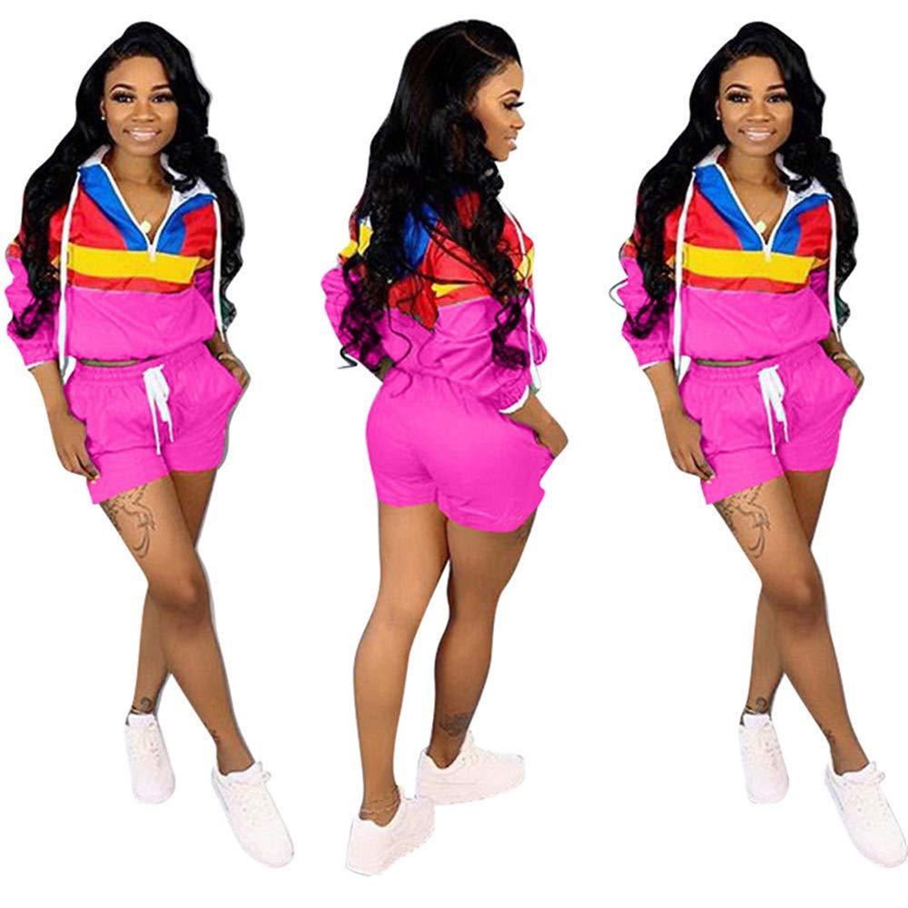 Meacase Women Two Piece Outfit Long Sleeve Zip up Block Crop Top /& Short Suit Pants Set