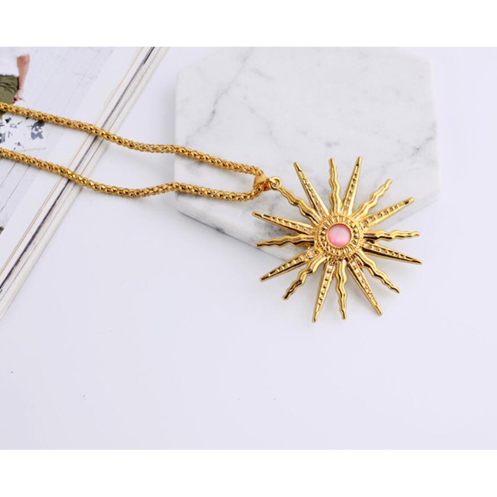 St.Ushine Classic Sun God Crystal Gold Plated Long Sweater Chain Pendant Necklaces for Women Girl Gift (Sun God- Champagne Gold with Pink) by St.Ushine (Image #2)