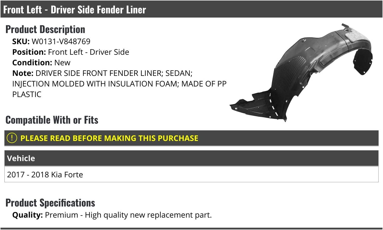 Compatible with 2017-2018 Kia Forte Sedan Front Left Driver Side Inner Fender Liner