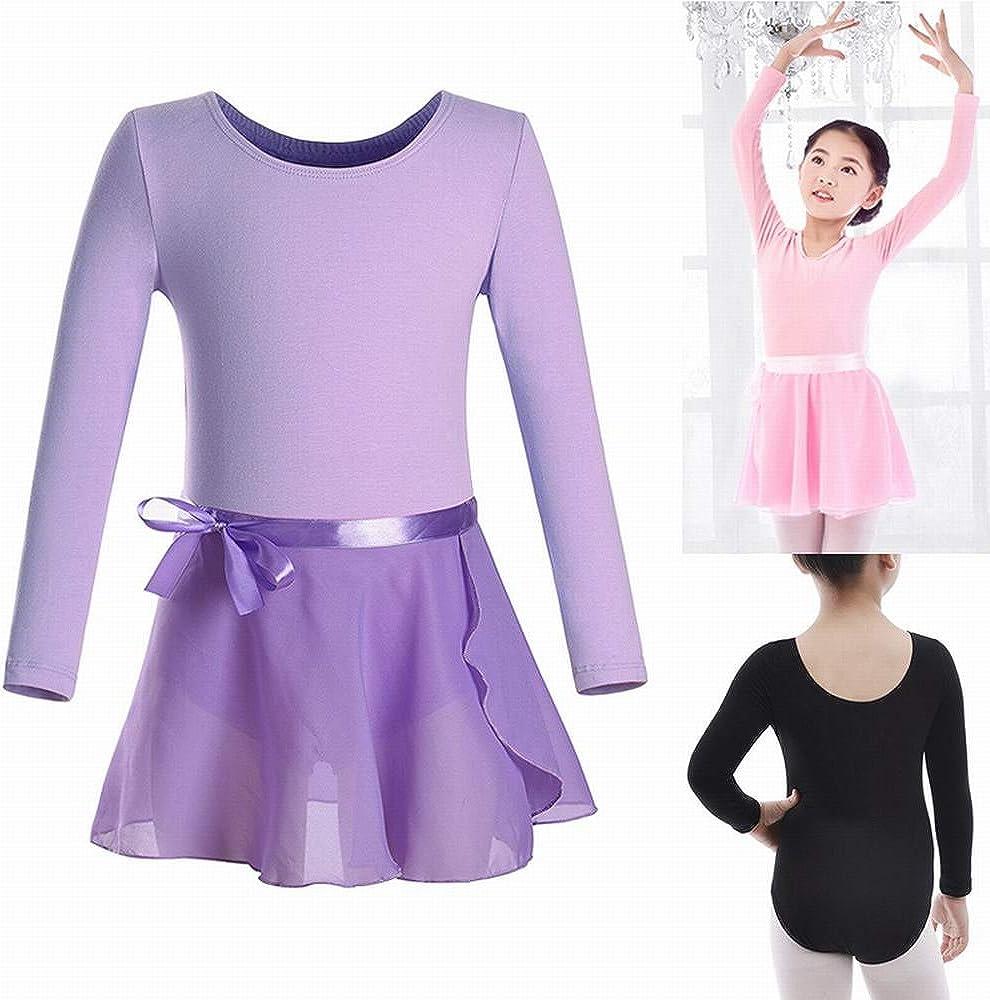 Mangotree Ballettkleid M/ädchen Langarm//Kurarm Ballett Trikot Body Baumwolle Ballettanzug mit Chiffon Wickelrock Kinder Ballettkleidung Set