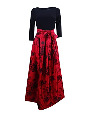 9f764c566764 Jessica Howard Women's Inset Waist Ballgown with Pleated Skirt & Tie Sash,  red/Black 6 at Amazon Women's Clothing store: