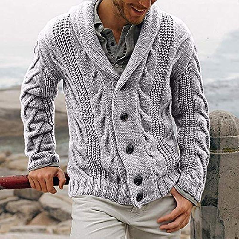 DONG męski sweter zimowy, gruby sweter typu twist, kardigan, kurtka, casual, ciepła dzianina, dwurzędowy sweter, Grey-S: Küche & Haushalt
