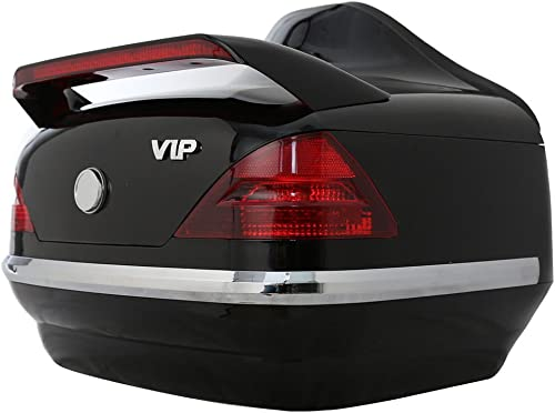 EGO BIKE Black Motorcycle Hard Trunk Top Case with Backrest and Tail Light