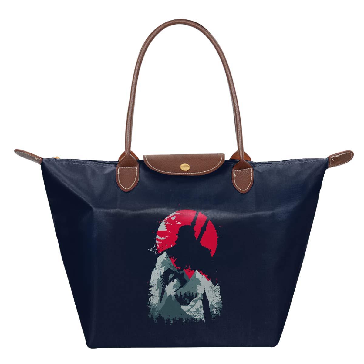 Witcher Wild Wonder Sun Mountain Silhouette Waterproof Leather Folded Messenger Nylon Bag Travel Tote Hopping Folding School Handbags