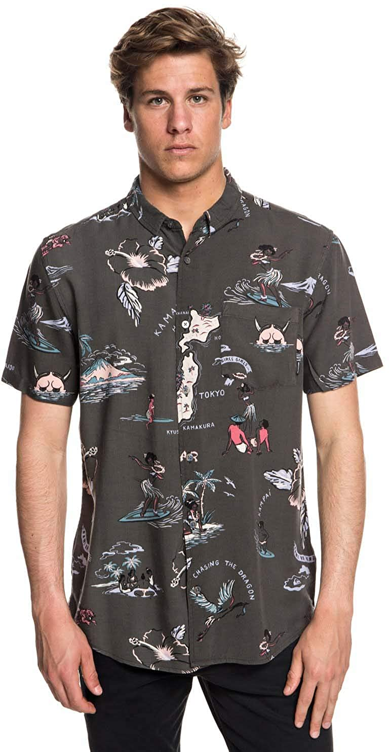 Amazon.com  Quiksilver Men s Banzai Camp Button Down Shirt  Clothing 5d58db1a8d7
