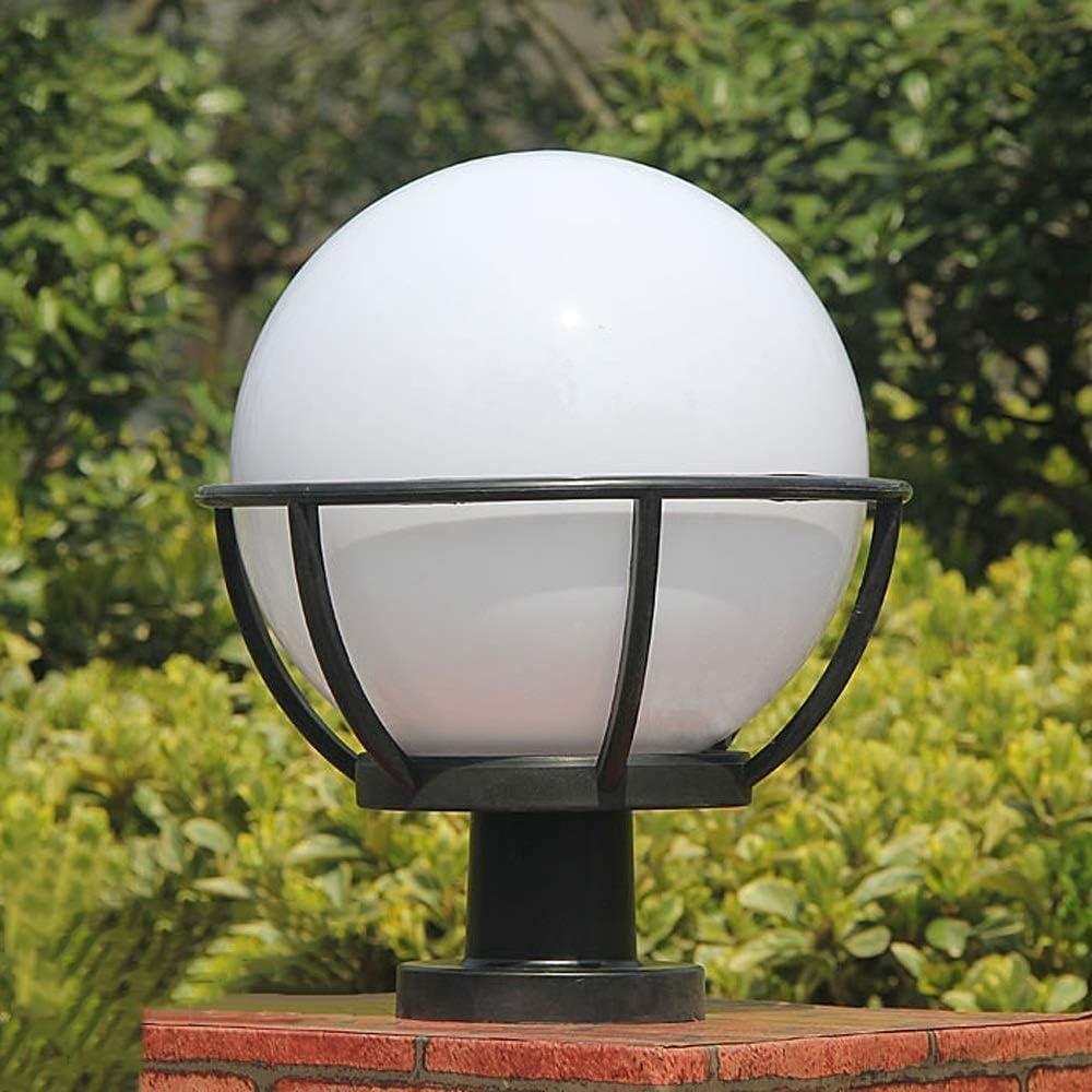 Size : S SHAOYH Classic Spherical Ball Garden Outdoor Column Lamp Pillar Lantern IP55 Waterproof Community Swimming Pool Post Light Acrylic Exterior Patio Fence Landscape Lighting E27 Edison